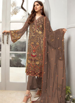 Brown Georgette Heavy Embroidered Designer Pakistani Style Salwar Suit