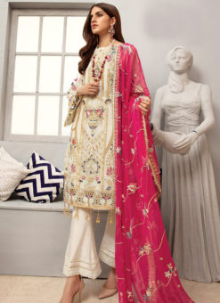 White Georgette Heavy Embroidered Designer Pakistani Style Salwar Suit