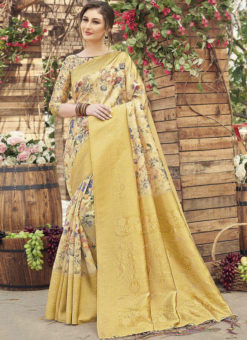 Yellow Silk Designer Printed Party Wear Saree