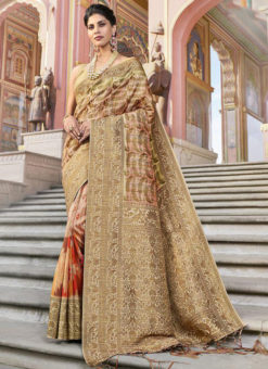 Beige Silk Designer Printed Party Wear Saree