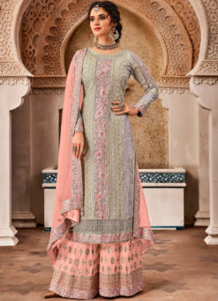 Lovely Grey Georgette Designer Embroidered Work Salwar Kameez