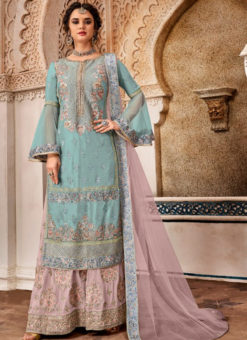Amazing Sky Blue Georgette Designer Embroidered Work Salwar Kameez