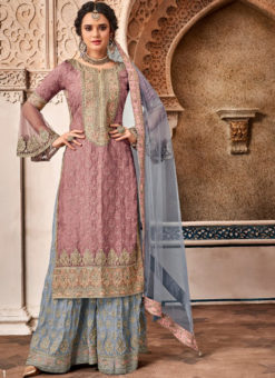 Elegant Wine Georgette Designer Embroidered Work Salwar Kameez