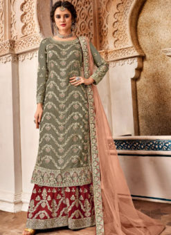 Attractive Green Georgette Designer Embroidered Work Salwar Kameez