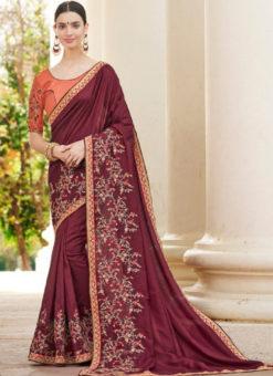 Maroon Silk Embroidered Work Designer Party Wear Saree