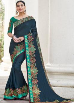 Blue Silk Embroidered Work Designer Party Wear Saree