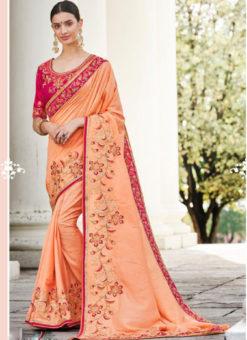 Orange Silk Embroidered Work Designer Party Wear Saree