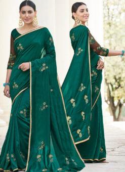 Green Silk Embroidered Work Designer Party Wear Saree
