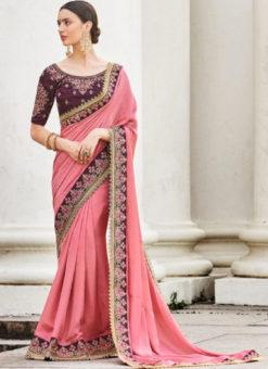 Pink Silk Embroidered Work Designer Party Wear Saree