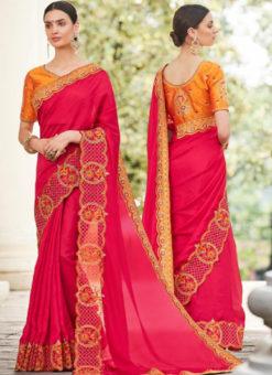 Rani Silk Embroidered Work Designer Party Wear Saree
