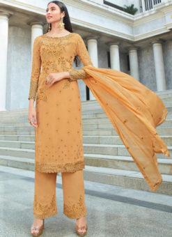 Awesome Orange Georgette Embroidered Work Designer Salwar Kameez