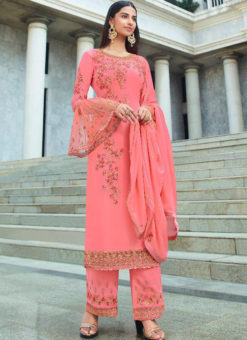 Spectacular Pink Georgette Embroidered Work Designer Salwar Kameez