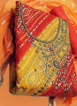 Lavish Orange Silk Designer Bandhej Dress Material