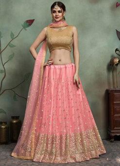 Charming Pink Net Embroidered Work Designer Lehenga Choli
