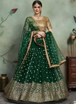 Graceful Green Net Embroidered Work Designer Lehenga Choli