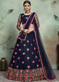 Amazing Blue Net Embroidered Work Designer Lehenga Choli