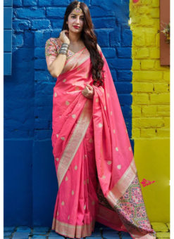 Elegant Pink Silk Wedding Wear Zari Weaving Designer Saree