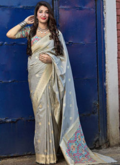 Wonderful Grey Silk Zari Weaving  Wedding Wear Designer Saree
