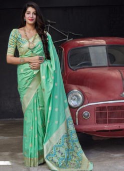 Lovely Sea Green Zari Weaving Silk Wedding Wear Designer Saree