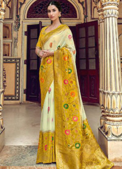 Lovely White And Yellow Silk Zari Weaving Party Wear Saree