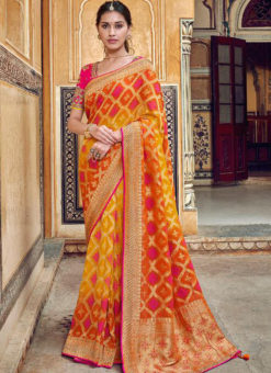 Wonderful Yellow Silk Zari Weaving Party Wear Saree