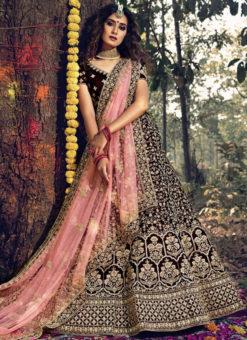 Maroon Velvet Designer Embroidered Work Wedding Lehenga Choli