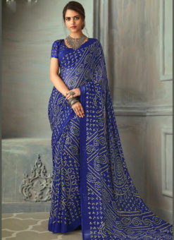 Traditional Wear Bandhani Printed Royale Blue Chiffon Saree