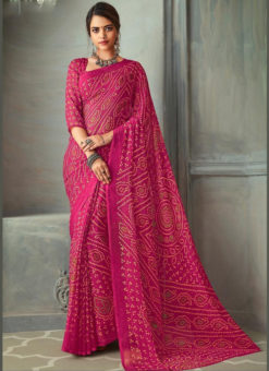 Chiffon Rani Pink Bandhani Printed Traditional Wear Saree
