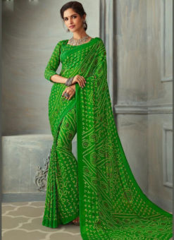 Bandhani Printed Traditional Wear Elegant Green Chiffon Saree