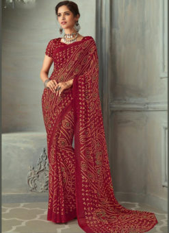 Maroon Bandhani Printed  Traditional Wear Classic Chiffon Saree