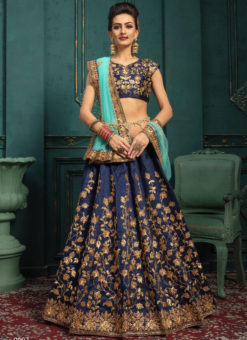 Elegant Navy Blue Silk Designer Wedding Wear Lehenga Choli