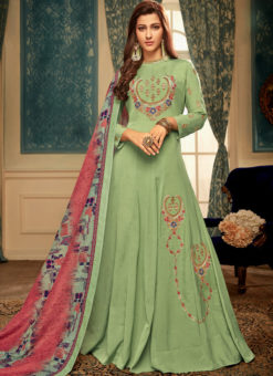Green Maslin Silk Embroidered Redaymade Designer Gown