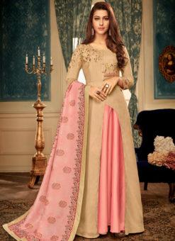 Peach Maslin Silk Embroidered Readymade Designer Gown