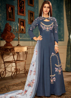 Blue Maslin Silk Embroidered Readymade Designer Gown