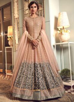 Lovely Peach Net Heavy Embroidered Work Designer Wedding Long Lehenga Choli