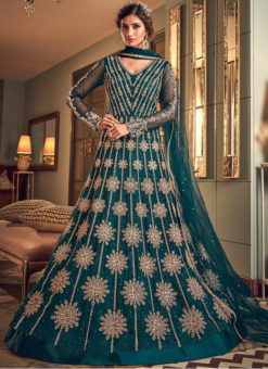 Amzing Green Net Heavy Embroidered Work Designer Wedding Long Lehenga Choli