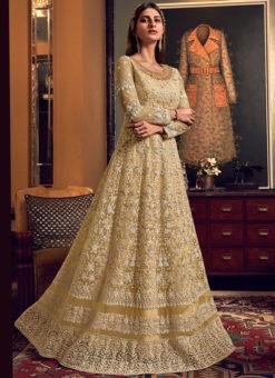 Elegant Cream Net Heavy Embroidered Work Designer Wedding Long Lehenga Choli