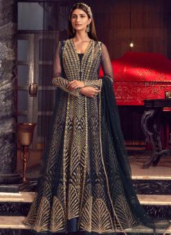 Alluring Blue Net Heavy Embroidered Work Designer Wedding Long Lehenga Choli