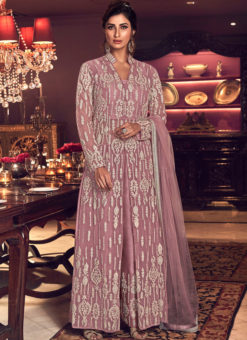 Charming Pink Net Heavy Embroidered Work Designer Anarkali Suit