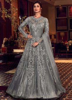 Beautiful Grey Net Heavy Embroidered Work Designer Wedding Long Lehenga Choli