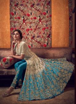 Lovely Cream Net Heavy Embroidered Work Designer Anarkali Suit