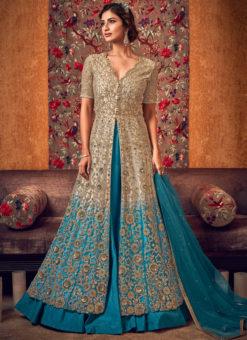 Lovely Cream Net Heavy Embroidered Work Designer Wedding Long Lehenga Choli