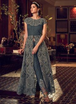 Amazing Dark Grey Net Heavy Embroidered Work Designer Anarkali Suit