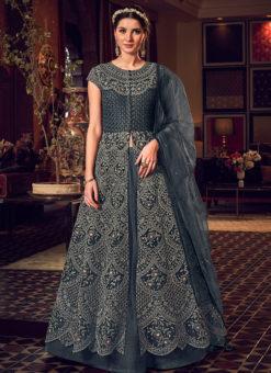 Elegant Grey Net Heavy Embroidered Work Designer Wedding Long Lehenga Choli