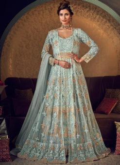 Amazing Sky Blue Net Heavy Embroidered Work Designer Wedding Long Lehenga Choli