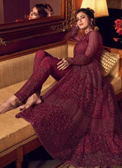 Dazzling Maroon Net Heavy Embroidered Work Designer Anarkali Suit