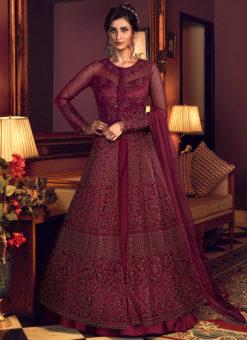 Jazzy Maroon Net Heavy Embroidered Work Designer Wedding Long Lehenga Choli