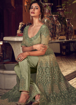 Splendid Green Net Heavy Embroidered Work Designer Anarkali Suit