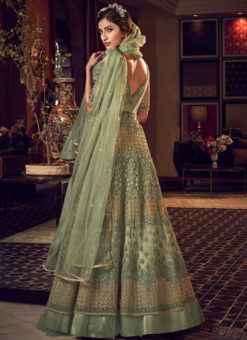 Excllent Green Net Heavy Embroidered Work Designer Wedding Long Lehenga Choli