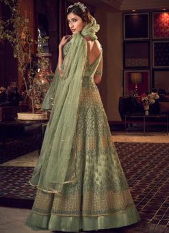 Excllent Green Net Heavy Embroidered Work Designer Wedding Long Lehenga Choli